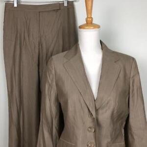 Ann Taylor Tan Pink Stripe Pant Suit Womens sz 6 Jacket 30 x 31.5 Lined Pants