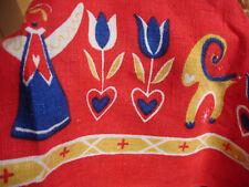 Vintage Linen Tablecloth Christmas Holliday Red Scandinavian Sweden Mid Century