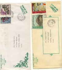 Laos  2  large  covers    stamped       KL0215