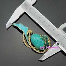 Brooch Pin Crystal Rhinestone Turquoise Bead Golden Tone Scarf Coat Hat Pin Gift