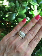 NEW Enamel stackable ring 1 Silver Tone White Band W Pave Cz Center Size 6