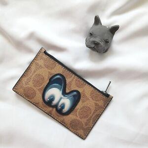 NWT Coach x Disney Zip Card Case In Signature Canvas Snow White Eye 32635 $125