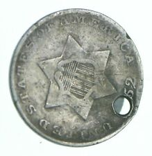 1852 Silver Three-Cent Piece - Trime - Holed Coin Collection *865