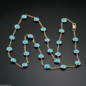 """Gorgeous By The Yard Turquoise Station Necklace 18k Yellow Gold Over in Size 22"""""""