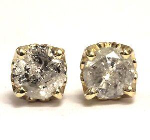 14k yellow gold 1.14ct I3 I round diamond stud earrings lace mounting 1.4g