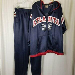 Atlanta Hawks 22 Chaud Dessus Suit Piste Veste Pantalon Vintage 90s Mens XL Aile