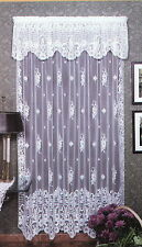 "Window Curtain Panel -  Floral Trellis in White by Heritage Lace - 60"" x 63"""