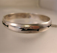 TAXCO Mexico Story Teller Child's Shadow Box Bangle Bracelet Sterling Fish Whale