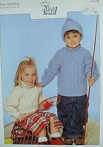 KING COLE 7170 - CHILDRENS ARAN CABLED RAGLAN SWEATER KNITTING PATTERN 20/30in