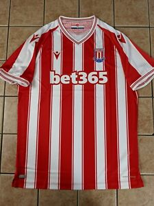 Stoke City 20/21 Home Authentic Blank Jersey Macron NWT White Red Men's