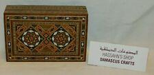 "Wooden box handmade Zahabi inlay hinged 5 x 3 1/8 x 1.5"" made Damascus Syria MWT"
