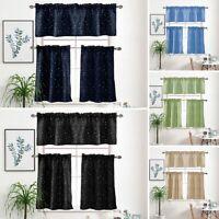 1pc Rod Pocket Blackout Short Curtain Cafe Kitchen Window Tier Treatment Decor