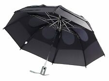 """Gustbuster Metro Dual Canopy Collapsible AUTO OPEN 43"""" Umbrella Black Windproof"""