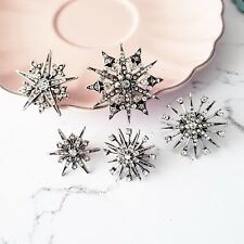 Vintage silver white crystal star snowflake statement brooch pins set of 5