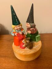 Gnomes Mother & Daughter &Mouse Porcelain Music Box By Gorham