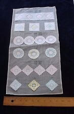Sample Page Of 18 Vintage c1940 Cotton Swiss Embroidered Tiny Appliques~Dolls