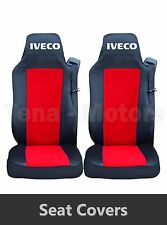 2 x IVECO STRALIS Seat Covers Tailored HGV Truck Lorry Black / Red RHD