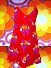 101✪  Blumenkinder 70er Jahre Neckholder Kleid Hippie Panton Ära rot orange Gr S