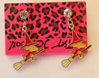 Betsey Johnson Crystal Rhinestone Enamel Cartoon Woodstock Witch Post Earrings