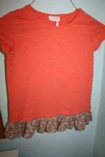 EUC Matilda Jane 435 Be Right Over Orange Ruffle Floral Tunic Top Girls Size 12