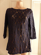 Oasis size S navy lace top with high scoop neck and ¾ length sleeves