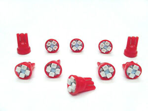10 Red *SUPER BRIGHT* 12V LED 168 194 Wedge Instrument Panel Light Bulb For BMW