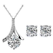 Weddings Bridal Jewellery Set Silver & White Zircon Stud Earrings Necklace S722