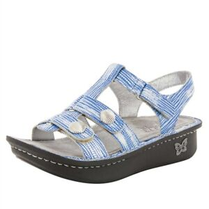 Alegria Kleo Womens Sandal Shells Blue Silver Leather Strap EUR 39 US 8.5-9
