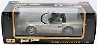 Maisto 1996 Corvette 1:18 Special Edition Silver Die Cast Car Fast Free Shipping