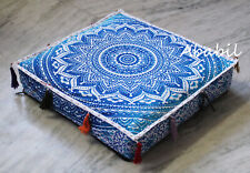 "18X4"" Square Blue Ombre Mandala Box Cushion Cover Room Decorative Covers Throw"