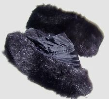 Pair of Black Faux Fur Cuffs Accessory Cuffs Coat Jacket Sweater Button On New