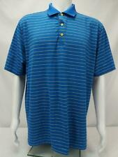 Peter Millar Summer Comfort Polo Shirt Pencil Striped Blue/Yellow Men's Large