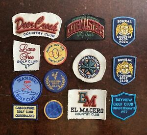 Lot Of 13 Old Vintage Golf Country Club Fabric Embroidered Patches From Caps?