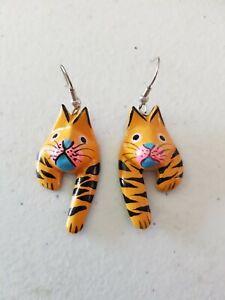 Earrings -Handmade Wooden Pussy Cat Kitten Orange Tiger 1980s 1990s Hand Painted
