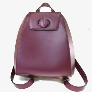 Authentic Must De Cartier 2C Logo Backpack Bag Leather Bordeaux Gold 76MF595