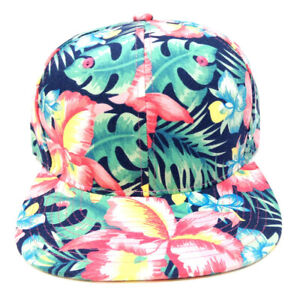BRIGHT HIBISCUS HAWAIIAN FLORAL PRINT SNAPBACK HAT CAP FLOWER FLAT BILL RETRO