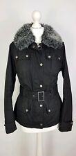 Q153 Barbour Ladies Piston Black Fur Collar Wax Utility Jacket, UK 10 Slim Fit