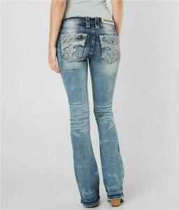 Rock Revival Womens Fenna Bling Rhinestone Embelished Bootcut Jeans 27 28 29 NEW