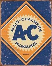 Allis Chalmers Logo Tractor Farm Plow Distressed Retro Vintage Wall Decor Sign