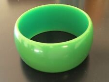 "Green Lime Bakelite Bangle Bracelet 1.33"" Wide Solid Rare"