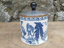 More details for vintage c1929 'manchu' woods burslem blue + white pot with turned aluminium lid