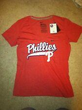 NWT Nike Philadelphia Phillies Womens Deep V Relay T-shirt *L*