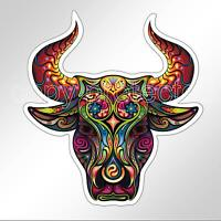 funny car bumper sticker colourful bulls head 89 x 97 mm patterned vinyl decal