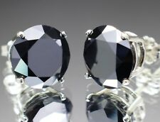 10.00tcw Real Natural Black Diamond Stud Earrings AAA & $5200 Value.