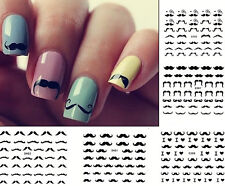 Black Moustache Nail Art Decals Water Transfer Stickers UV Acrylic Decorations