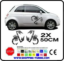 STICKERS KIT 2 ADHESIF TUNING AUTO EMBLEME LOGO FIAT 500 ABARTH 50