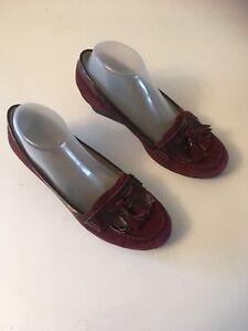 Van Dal Ladies Wedge Shoe In Wine Size Uk 6D Eu39