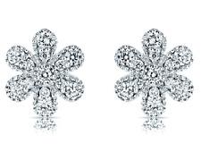0.34ct Natural Diamond Flower Stud Earring 18k White Gold For Christmas Gift