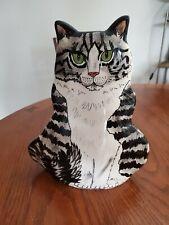 """Cats By Nina Ceramic Decorative Cat Vase Black White Stripe 11"""""""