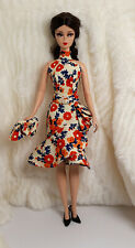 Handmade Orange Blue Flower Outfit Dress Bag For Silkstone Model Muse Doll